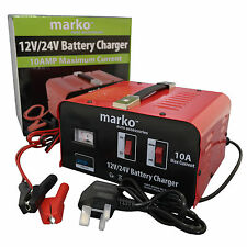 10AMP 12V/24V HEAVY DUTY VEHICLE BATTERY CHARGER CAR VAN TRUCK LORRIES CHARGING