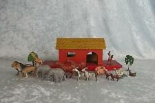 Vintage Wooden Noah's Ark With Various Painted Lead Animals