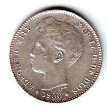 ESPAÑA: 1 peseta plata 1900 *19* *00*  Rey ALFONSO XIII  S/C una preciosidad