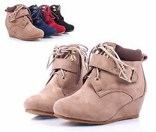 Taupe Lace Up Girls Wedge High Heels Kids Youth Ankle Boots Shoes Size 13