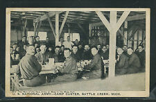 MI Battle Creek LITHO c.18 U.S. ARMY CAMP CUSTER New Army Men in MESS HALL #2013