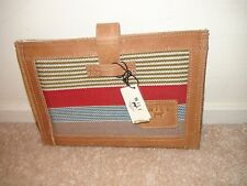 "WILL LEATHER GOODS Weavers House 8"" Tablet Sleeve Brown Leather Woven Canvas NWT"