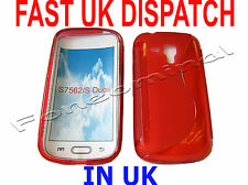 For Samsung Galaxy S Duos GT S7562 Pattern Gel Jelly Case Protector Cover Red UK