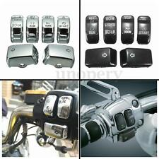 6x Control Housing Switch Button Cover Cap Kit For Harley Dyna Softail Sportster