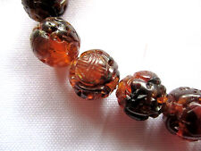 Antique Chinese Natural Carved Amber Beads - 20 beads - Round 6.35mm - 10.2g