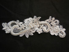 Ivory bridal beaded sequins lace applique /wedding floral lace motif.By piece