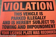 10-Violation Parked illegally Towing Impoundment Warning No Parking Sign Sticker