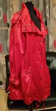 ZARA BASIC WOMENS RED TRENCH RAIN COAT ZIP SNAP CLOSURE BELTED LINED JACKET Sz M