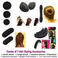 Combo of 7 hair accessories   3 donuts + volumizer + banana bumpits + Longbun