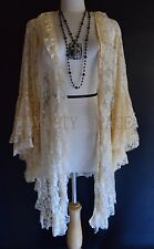 ROMANTIC-CHIC LACE-BEIGE JACKET WEDDING-OCCASION Flowing KNIT DUSTER CARDIGAN~XL