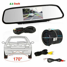 "Car Rear View 4.3"" LCD Display Mirror Monitor Reverse Parking Camera With Drill"