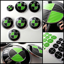 Black & Green CARBON Fiber Overlay Decal to BMW ROUNDELS EMBLEMS Rims Hood Trunk