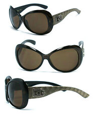 New DG Buttferfly Oval Womens Sunglasses - Champagne Temple Brown lens DG156
