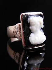 Victorian Antique Vintage Black & White Cameo Womens Face 14k Gold Ring Sz 10