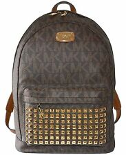NEW MICHAEL KORS MK SIGNATURE BROWN JET SET TRAVEL LARGE STUDDED BACKPACK BAG
