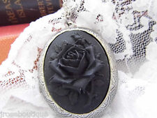 Antique SLVR BLACK ROSE Cameo Steampunk Goth Necklace Locket HALLOWEEN MOURNING