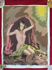 "Vintage 16"" x 12"" Oil Paint-By-Number ""Nude With Shawl"" 1952"