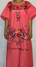 Large Hot Pink Peasant Tunic Boho Hippie Hand Embroidered Mexican Dress Tunic
