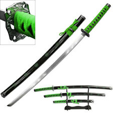 3 Piece Green & Black Samurai Katana Swords Sword Set #SW-72GN4