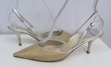 RENE CAOVILLA SHOES SILVER & GOLD SILK & LEATHER WOVEN DESIGN SIZE 37 7