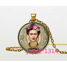 Vintage Frida Kahlo Cabochon bronze Glass Chain Pendant Necklace @XP-583