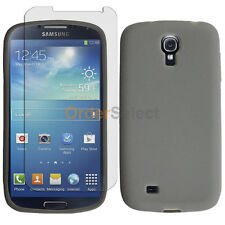 Silicone Soft Rubber Gel Case+LCD Screen Guard for Samsung Galaxy S4 GS4 Gray
