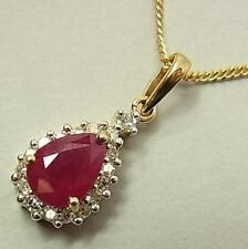 SPARKLY 9CT GOLD, RUBY & DIAMOND PENDANT ON 9CT CHAIN