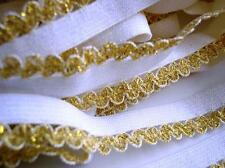 "10 yards Elastic/Spandex Metallic Scallop Lace 1/2"" Trim/Craft/holiday T75-Gold"