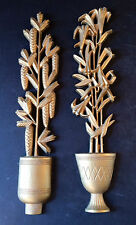 1970's BURWOOD Products Co.  Potted Plant Wall Hangings-Lillies and Pine