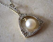 ANTIQUE EDWARDIAN DIAMOND & PEARL PENDANT NECKLACE in WHITE GOLD & PLATINUM 1910