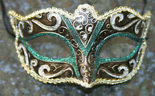 Venetian Masquerade Mask Party Fancy Dress Prom GREEN GOLD BLACK & BRONZE