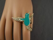 Turquoise Gold enamel Hummingbird Bird big cocktail statement ring adjustable