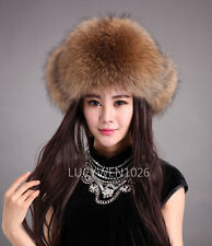 Women Real Fox Fur Hat Russian Winter Warmer Ear Cap Ushanka Cossack Ski Raccoon