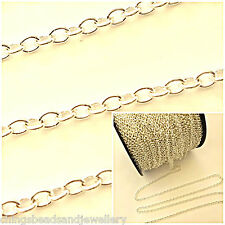 2M Silver Plated 2x3mm Continuous Cable Chains For Jewellery Making