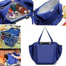 Blue Insulated Cool Grab Bag Clip-To-Cart Reusable Grocery Shopping Bag 18 Gal