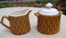 VINTAGE DIAMOND PATTERN MILK JUG CREAMER & LIDDED SUGAR BOWL