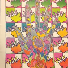 Rare Peter Max Vintage 1970 Pop Op Psychedelic Gloves Cool Wall Art Poster Print