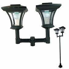 Twin Head Solar Garden Lamp Post Light Bright White LED 1.8m Lamppost Auto ON