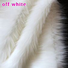 "Off white SHAGGY FAUX FUR FABRIC LONG PILE FUR costumes cosplay crafts 60""  BTY"