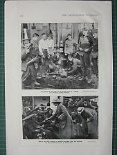 1914 WWI WW1 PRINT BREAKFAST TROOP TRAIN FRENCH RAILWAY STATION BRITISH WOUNDED