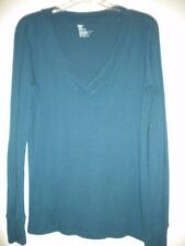 Gap Size Large Cotton/Modal Teal Long Sleeve V Neck Womens Shirt Top Blouse