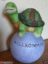 """Gartenkugel mit Schildkröte und Aufschrift """"Willkommen"""" Deko"""