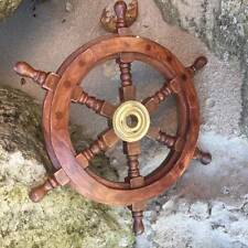 "New Wood and Brass Ships Wheel 30cm / 12"" Maritime Nautical Marine Home Decor"