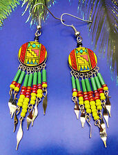 Alpaca Ethnic Handmade Red Green Yellow Rasta Colours #2 Earrings 6cm long