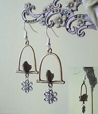 Cute Kitsch Bronze Bird on a Swing with Silver Flower Dangly Earrings