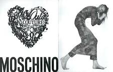 ▬► PUBLICITE ADVERTISING AD Sac bag MOSCHINO Photo Platon 2 pages Couture