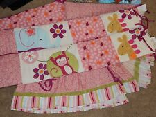 LAMBS & IVY Lollipop Safari Monkey Giraffe Crib Skirt Ruffle & Bumper Pads Set