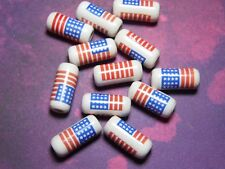 New 20 Ceramic American Flag USA Beads Tube 18mm  Red Blue