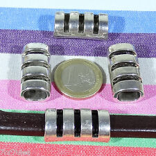 3 Abalorios Para Cuero Regaliz 28x14mm  T128C  Plata Tibetana Leather Beads Cuir