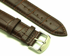 22mm Brown Alligator Grain Leather Replacement Watch Strap - Guess Fossil 22
